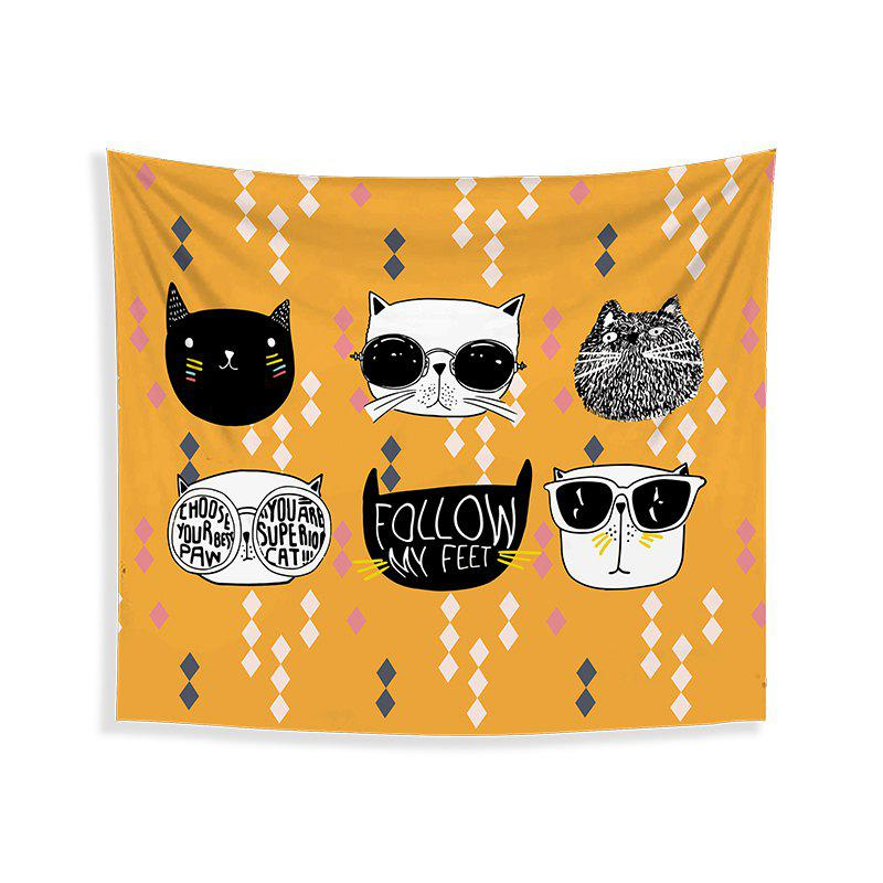 Affordable Cartoon Cats Living Room Tapestry Wall Beach Towel Cushion Printed Cloth Wrap Skirt