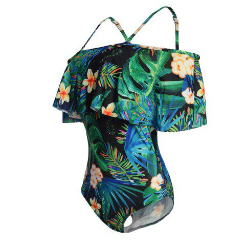 Shops One Shoulder Printing One-Piece Swimsuit