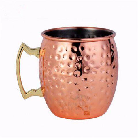 Trendy 550ML 304 Stainless Steel Drum Type Moscow Mug Hammered Copper Plated Beer Mug Beer Cup Water Glass Drinkware