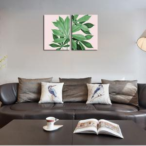 QiaoJiaHuaYuan Frame Canvas Without Frame Canvas Living Room Sofa background Two Pieces of Leaf Decorative Hanging Paint -