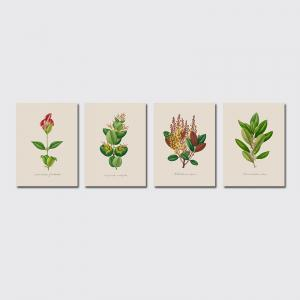 QiaoJiaHuaYuan No Frame Canvas of the Nordic Living Room Sofa Background Four Pieces of Decorative Painting Plant Leaves -