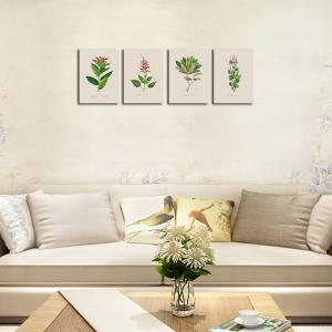 QiaoJiaHuaYuan Frame Canvas Without Frame Canvas Living Room Sofa Background Plant Leaves Four Pieces of Decorative Hang -