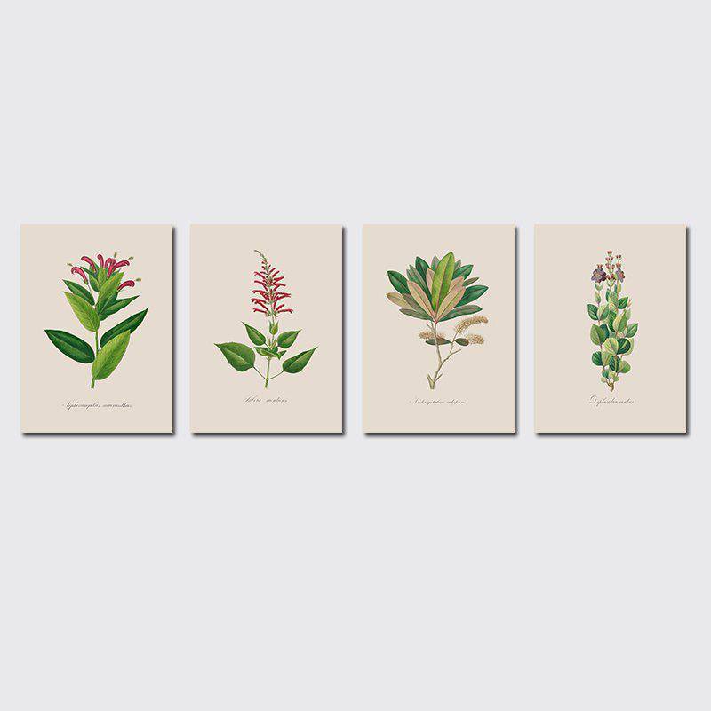 Shop QiaoJiaHuaYuan Frame Canvas Without Frame Canvas Living Room Sofa Background Plant Leaves Four Pieces of Decorative Hang