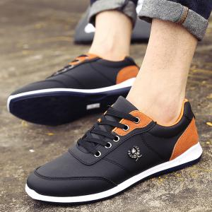 Men's Fashion Splicing and PU Leather Design Casual Shoes -