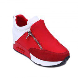 Round Head Thick Bottom Side Zipper Inside Lift Shoes -