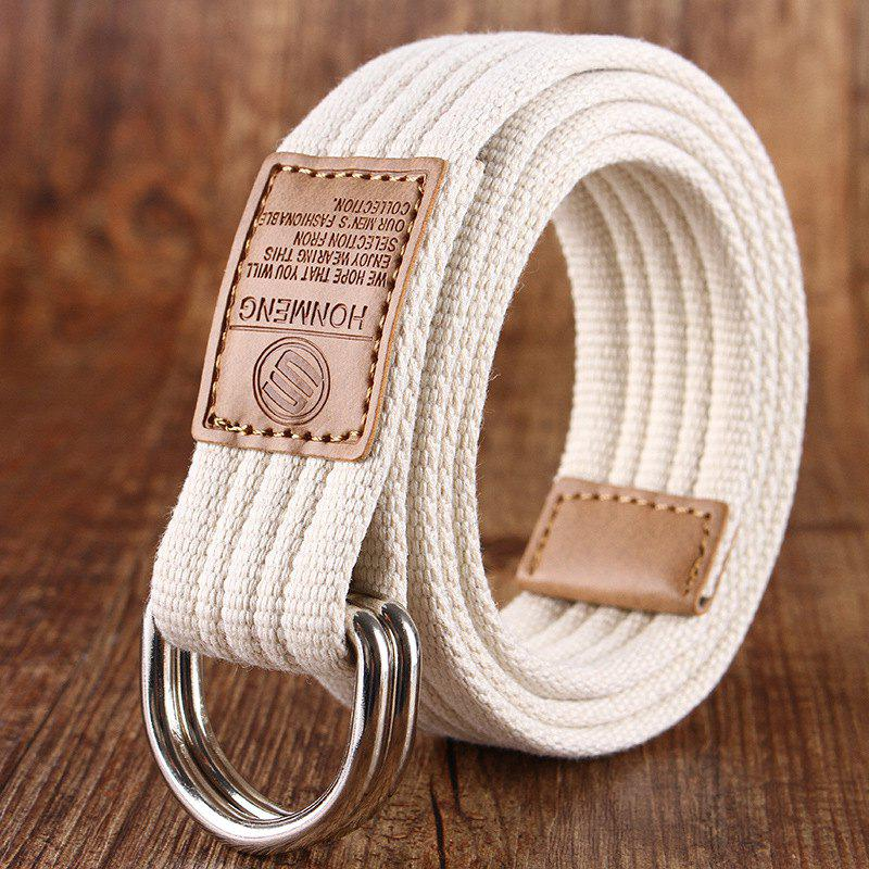 Shop Double loop canvas belt and outdoor leisure cloth belt for young students all-match Fashion Jeans Belt