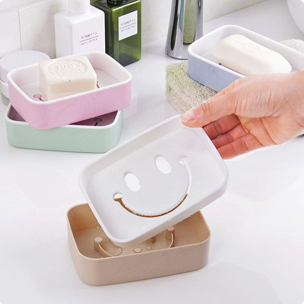 Shops 1PCS Plastic Double Layer Soap Box Smile Face dish Bathroom Shower Container Storage