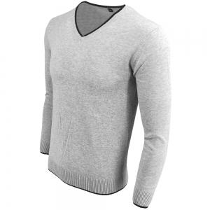 Men's Spring and Autumn Long-Sleeved Solid Color V-Neck  Comfortable Sweater -