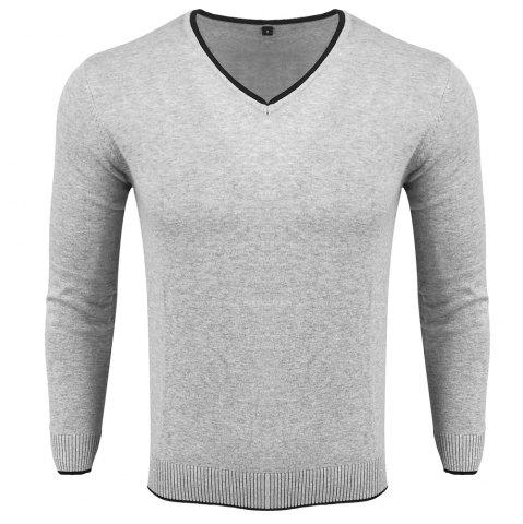 Unique Men's Spring and Autumn Long-Sleeved Solid Color V-Neck  Comfortable Sweater