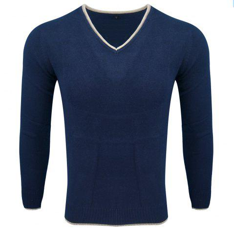 Outfits Men's Spring and Autumn Long-Sleeved Solid Color V-Neck  Comfortable Sweater