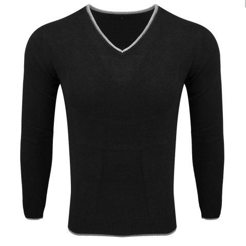 Online Men's Spring and Autumn Long-Sleeved Solid Color V-Neck  Comfortable Sweater