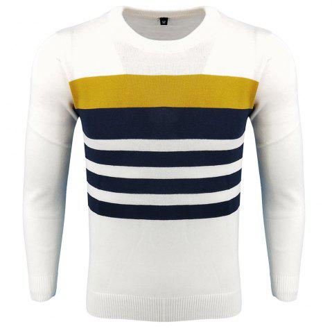 Sale Men's Spring and Autumn Fashion Casual  Long-Sleeved Hit Color Round Neck Knit Sweater