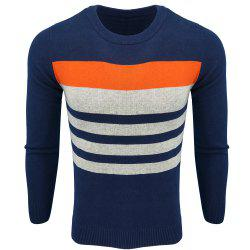 Men's Spring and Autumn Fashion Casual  Long-Sleeved Hit Color Round Neck Knit Sweater -