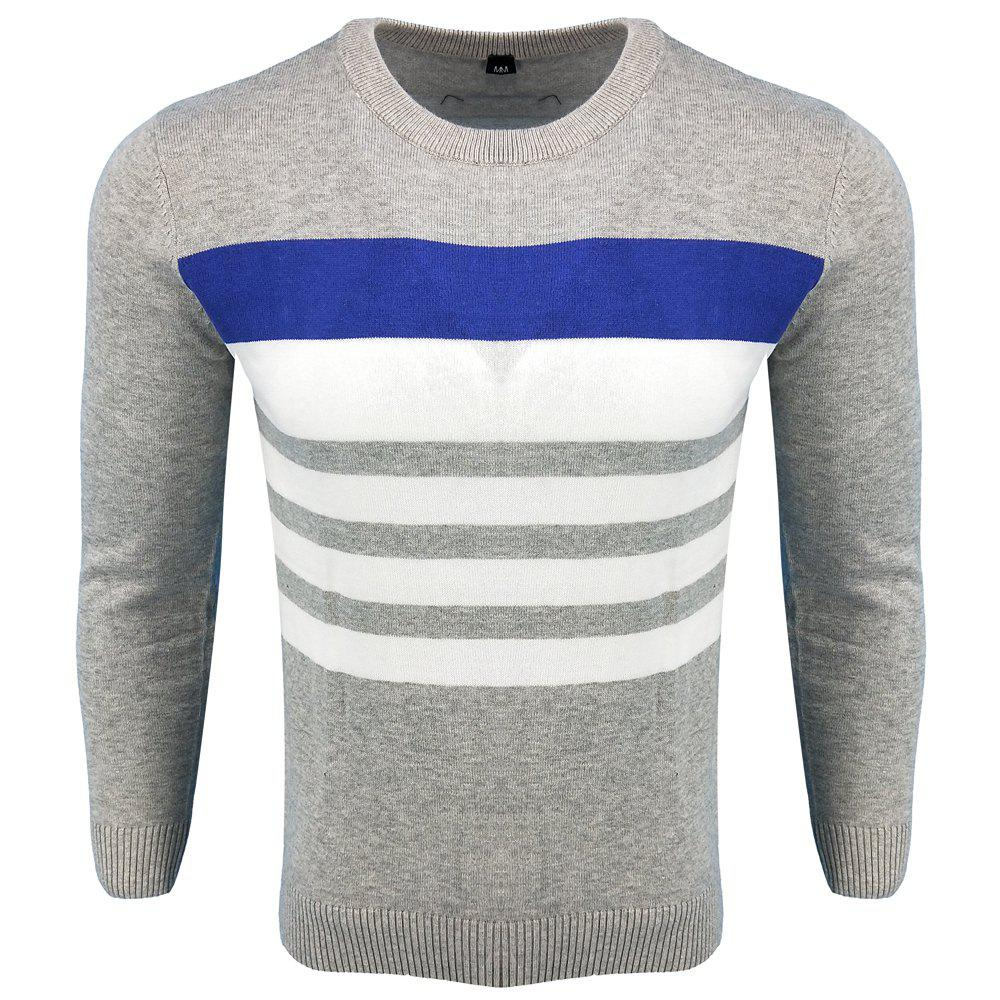 Affordable Men's Spring and Autumn Fashion Casual  Long-Sleeved Hit Color Round Neck Knit Sweater