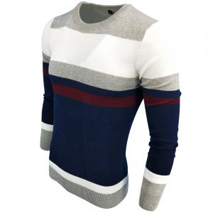 Men's Spring and Autumn Fashion Casual Long-Sleeved Self-Cultivation Hit  Round Neck Knit Sweater -