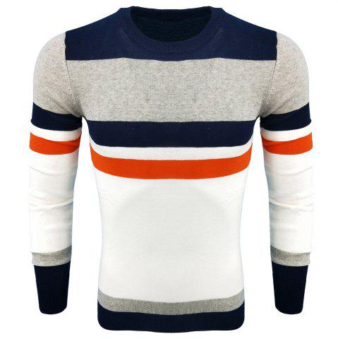 Outfits Men's Spring and Autumn Fashion Casual Long-Sleeved Self-Cultivation Hit  Round Neck Knit Sweater