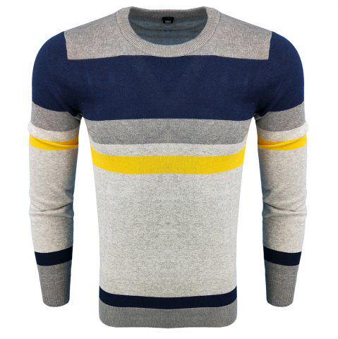 Discount Men's Spring and Autumn Fashion Casual Long-Sleeved Self-Cultivation Hit  Round Neck Knit Sweater