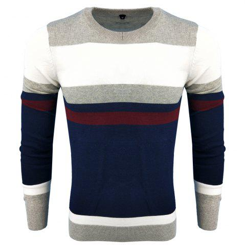 Unique Men's Spring and Autumn Fashion Casual Long-Sleeved Self-Cultivation Hit  Round Neck Knit Sweater