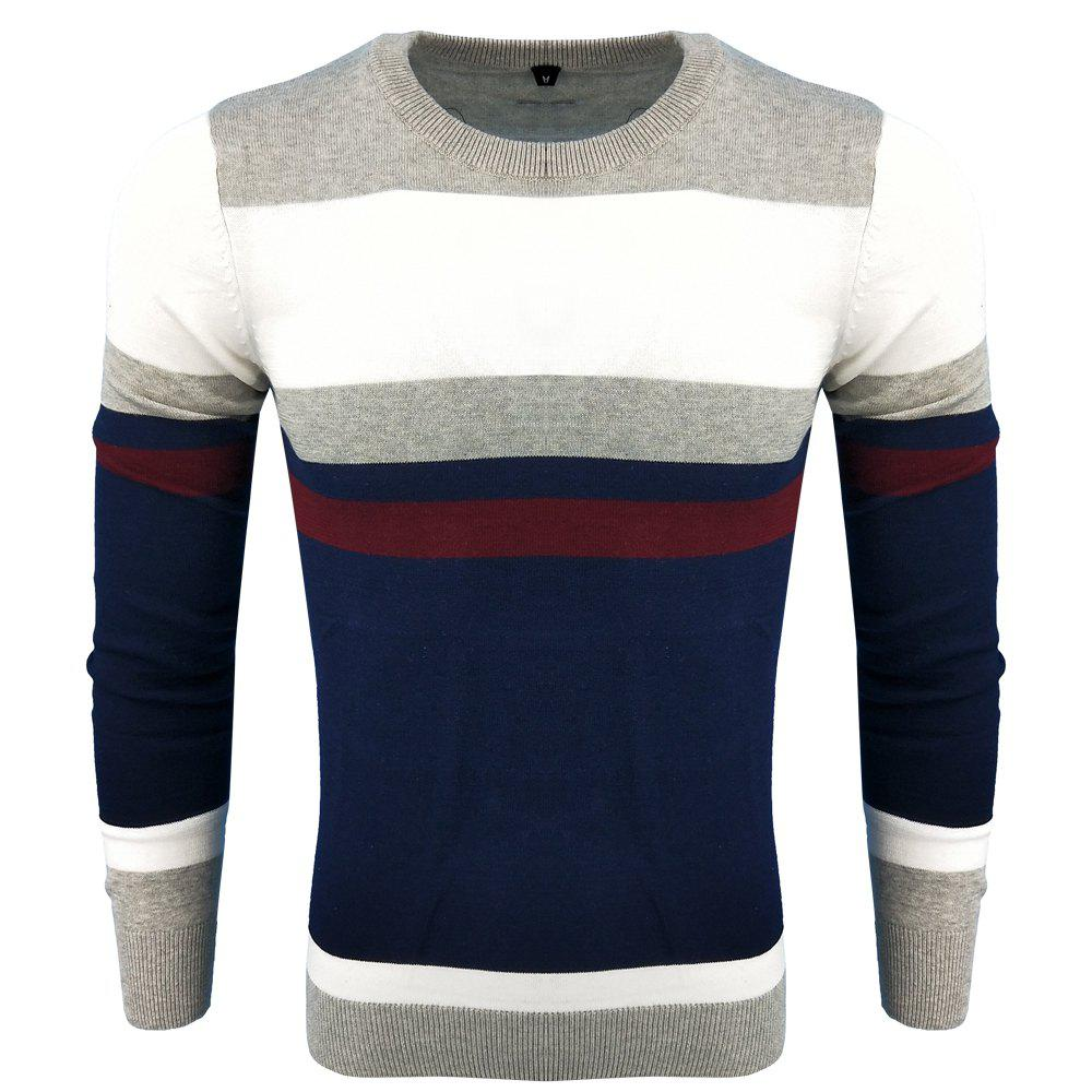 Sale Men's Spring and Autumn Fashion Casual Long-Sleeved Self-Cultivation Hit  Round Neck Knit Sweater