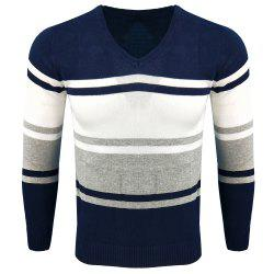 Spring and Autumn Long-Sleeved Hit Color Fashion  Knit Sweater -
