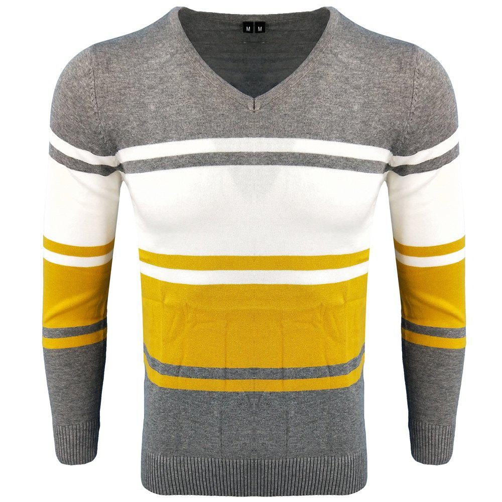 Shop Spring and Autumn Long-Sleeved Hit Color Fashion  Knit Sweater