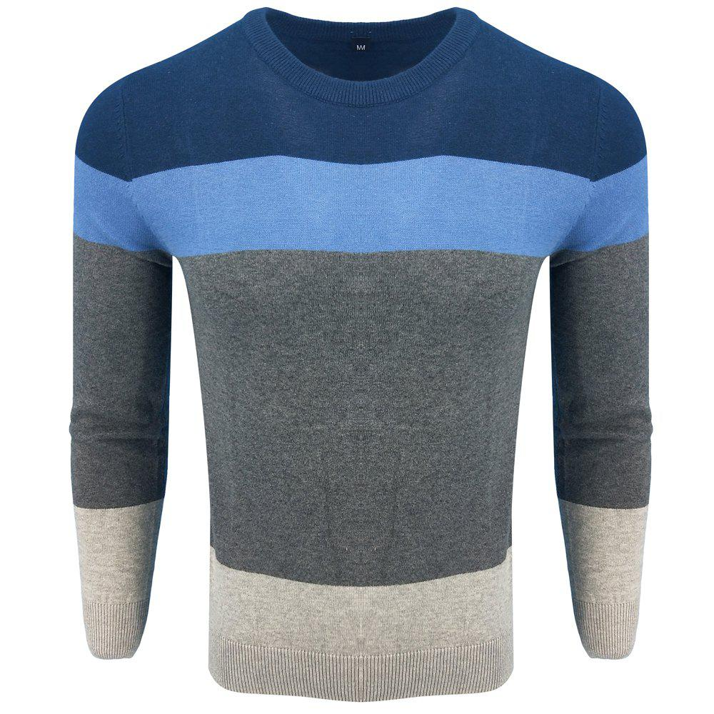 New Spring and Autumn Long-Sleeved Round Neck Color Hit Fashion Casual Knit Sweater