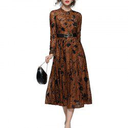 Fashionable Stand Collar Lace Dress -