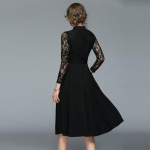 Fashion  Lace Stitching Long-sleeved Dress -