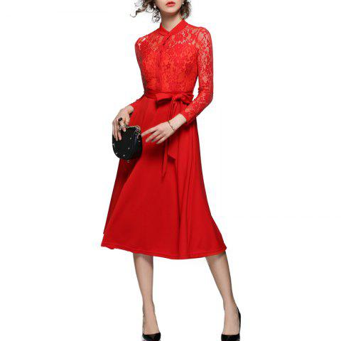 Best Fashion  Lace Stitching Long-sleeved Dress