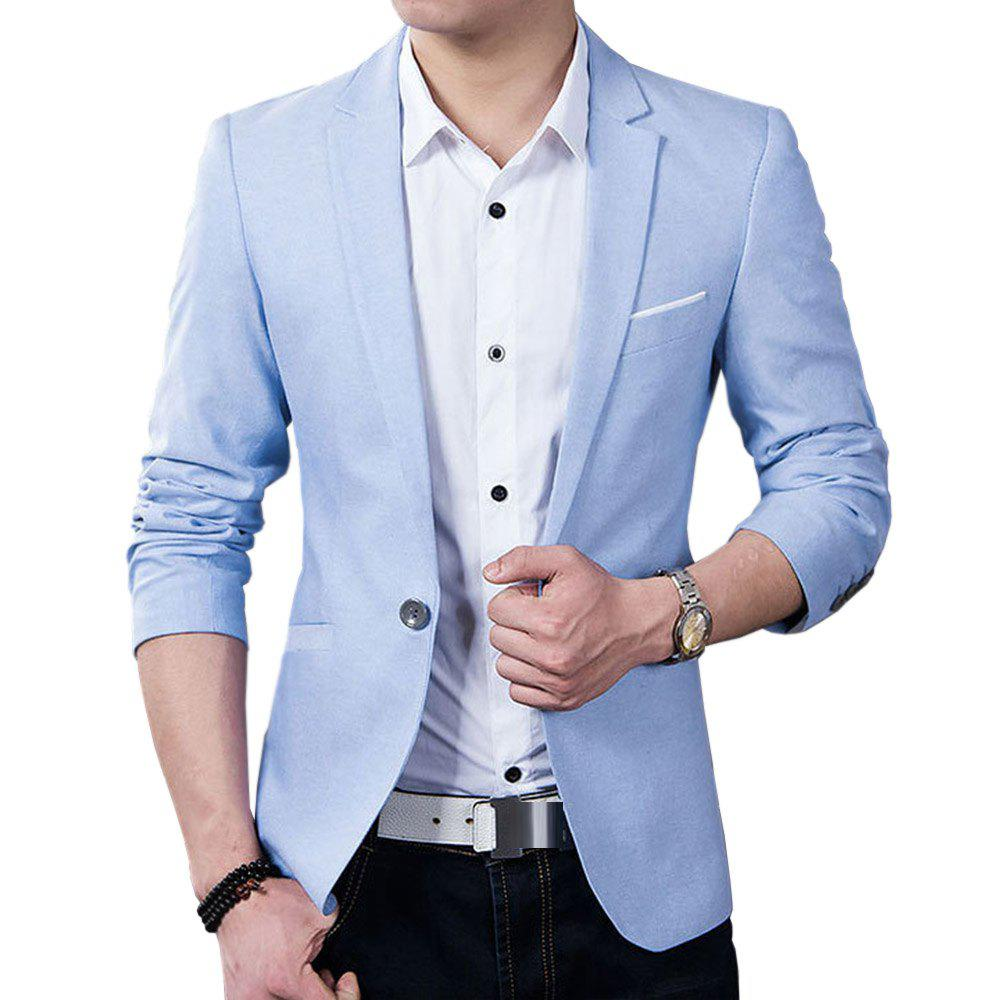 Shops Solid Cotton Thin Blazer Slim Fit with One Botton