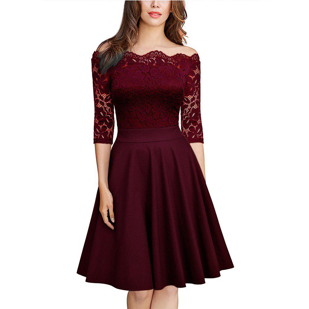 Chic Sexy Lace Off Shoulder Large Casual Dress