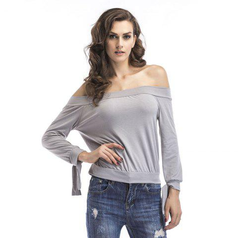Unique Long Sleeves  Off Shoulder  T-Shirt
