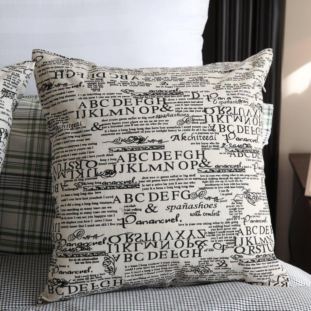 Hot Creative Letter Print Decorative Square Pillowcase