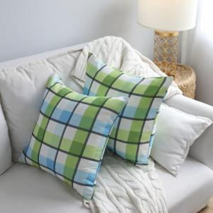 Sofa Cushion Cover Fresh Plaids Pattern Square Supple Pillowcase -