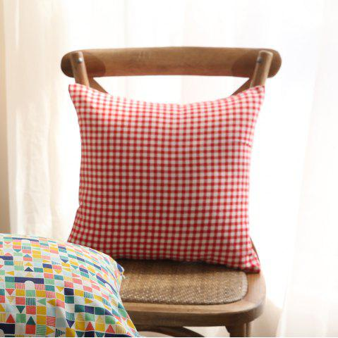 Sale Home Decorative Pillowcase Red Check Pattern Supple Sofa Cushion Cover