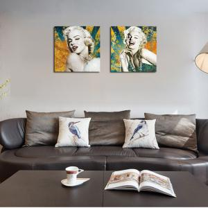 QiaoJiaHuaYuan There is No frame Canvas Living Room Sofa Background Double Couplet Painting Figure Marilyn Monroe -
