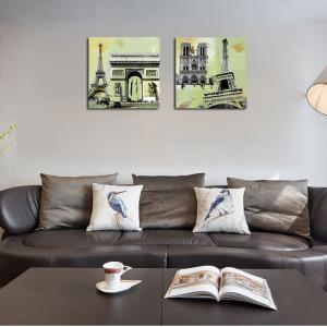 QiaoJiaHuaYuan Unframed Canvas Living Room Sofa Background Double - Link Painting of European and American Architecture -
