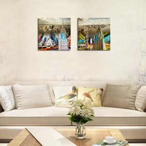 QiaoJiaHuaYuan No Frame Canvas Living Room Sofa Background Double - Link Painting Urban Street View Украшение -