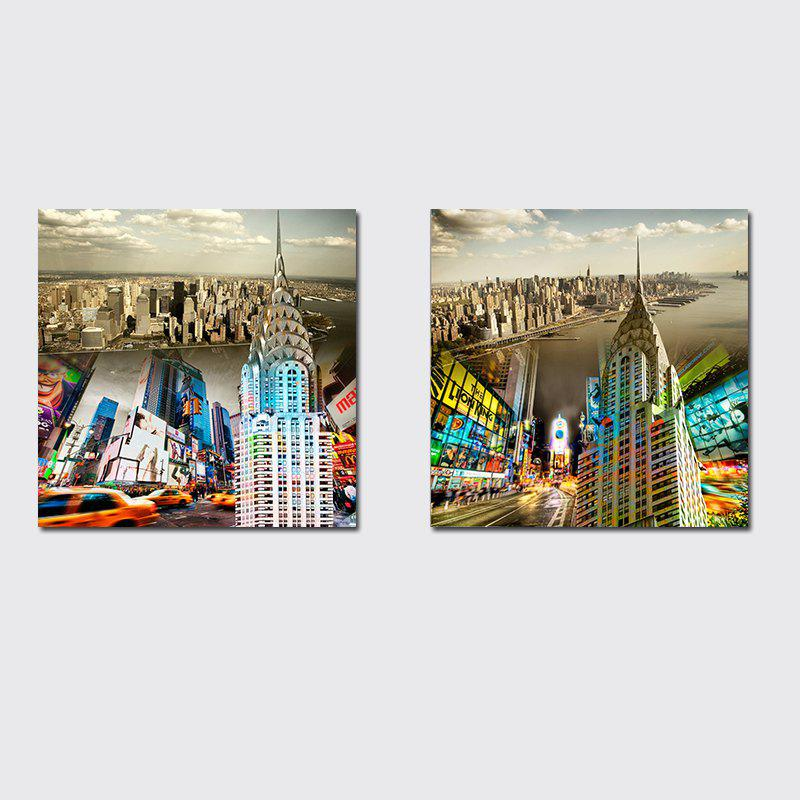 Sale QiaoJiaHuaYuan No Frame Canvas Living Room Sofa Background Double - Link Painting of Urban Street View Decoration