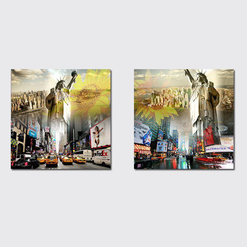 Trendy QiaoJiaHuaYuan No Frame Canvas Living Room Sofa Background Decorates The City Building Liberty Goddess