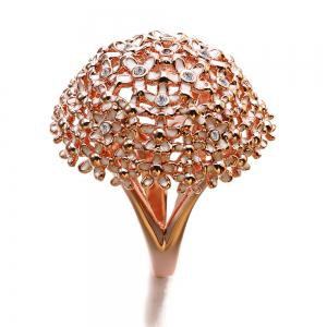 New Year Gift Plated Rose Gold Enamel Crystal Flower Rings -