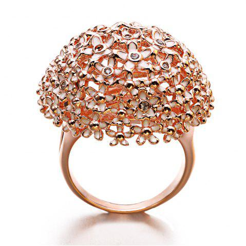 Unique New Year Gift Plated Rose Gold Enamel Crystal Flower Rings