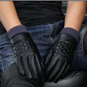 Winter Men's PU Water Skin Leather Touch Screen Leather Gloves To Keep Warm and Bike Riding To Protect Against Cold -