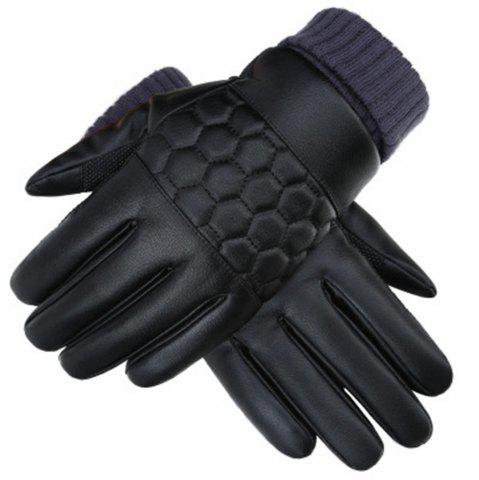 Discount Winter Men's PU Water Skin Leather Touch Screen Leather Gloves To Keep Warm and Bike Riding To Protect Against Cold