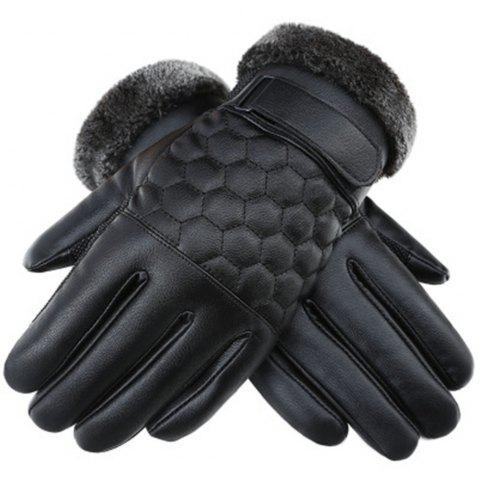 Shop Winter Men's PU Water Skin Leather Touch Screen Leather Gloves To Keep Warm and Bike Riding To Protect Against Cold
