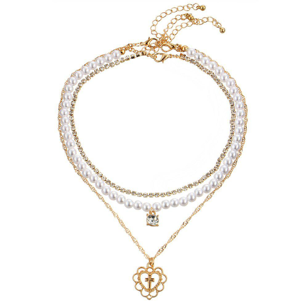 Affordable The New Imitation Full Drill Multiple Peach Heart Pendant Necklace Set