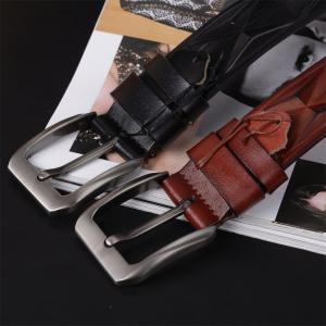 Men'S Steel Buckle Leather Belt -