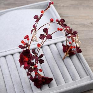 Red Rose Flower Fabric Headband Hair Jewelry for Women Wedding Party -