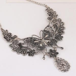 Women Girls Vintage Hollow Butterfly Pendant Necklace Choker Collar Drop Earrings Set Metal Fashion Jewelry Gifts -