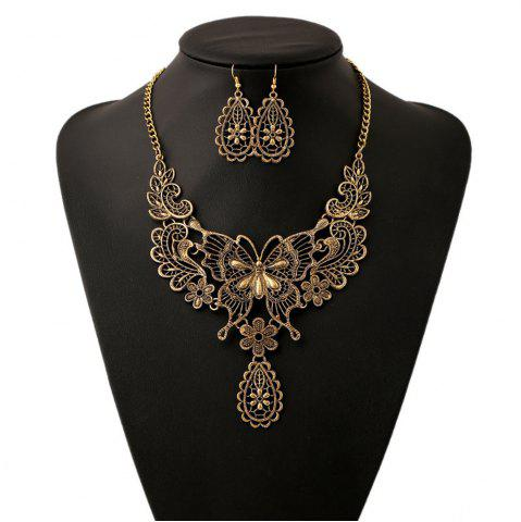 Chic Women Girls Vintage Hollow Butterfly Pendant Necklace Choker Collar Drop Earrings Set Metal Fashion Jewelry Gifts